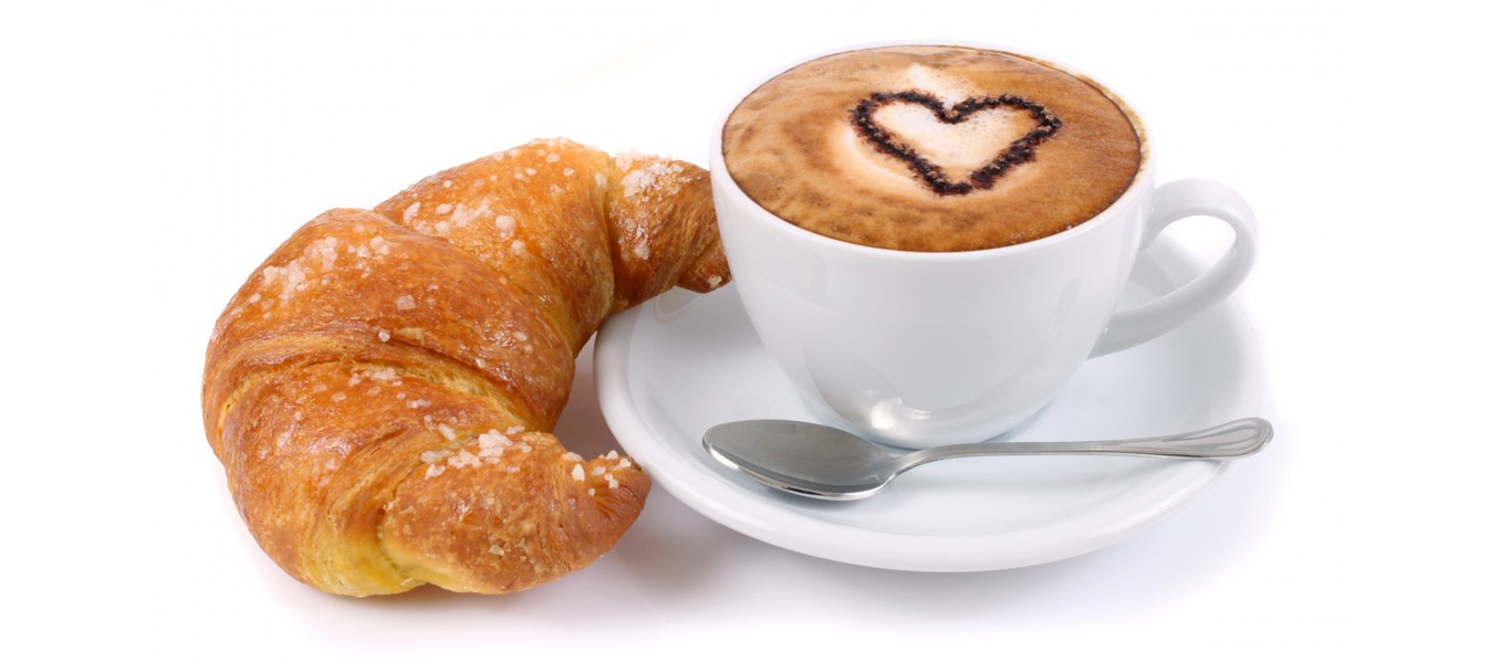 Coffee, Croissant and Art Image