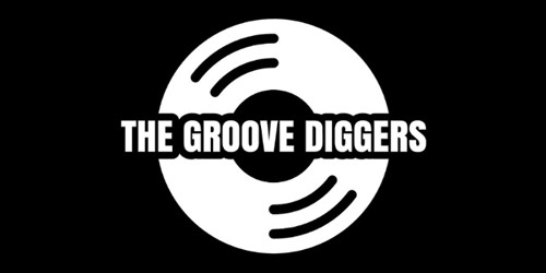 the groove diggers logo - text on top of an illustration of a vinyl record